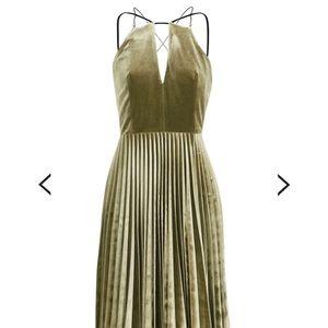 Topshop green velvet pleated chain strap dress